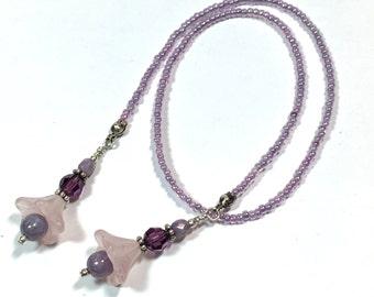 Light Purple flower Beaded Bookmark