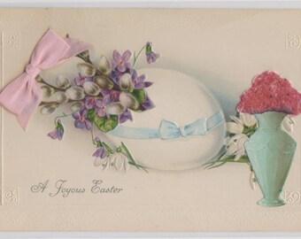 Easter postcard , Easter egg, glittery flowers, beautiful vase, A Joyous Easter vintage postcard, chick, art nouveau vase, attached bow