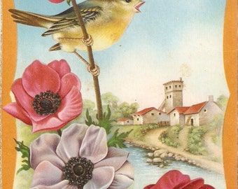 Bird postcard Landscape with bird and flowers, Spanish Greetings post card, artist signed vintage postcard, SharonFosterVintage