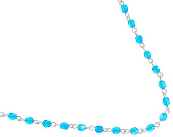 One Meter (3.28 Feet) Czech Glass Beaded Chain-Aqua AB with Silver Link 4mm (4007)