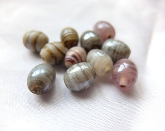 Tan / Grey / Lavender Glazed Striped Ceramic Beads - 11pcs - Jewelry making, DIY, Craft, Resin art
