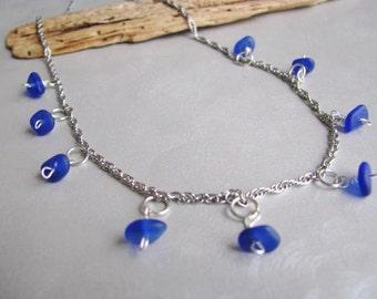 Sea Glass Beach Glass Jewelry - Beach Glass Necklace - Cobalt Blue - Sea Glass Necklace