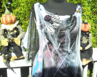 SPIDER QUEEN Halloween Costume Spooky Tatered Cob Webs Treat or Treat