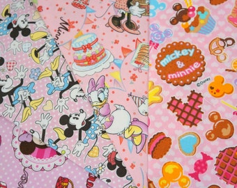 Disney fabric scrap  Minnie Mouse  print 25 cm by 25 cm or 9.6 by 9.6 inches each piece (ns04) Printed in Japan ©Disney