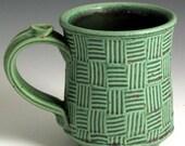 Handmade Pottery Ceramic Stoneware Green/Red Rose Mug