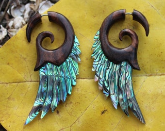Fake Gauge Earrings ,Tribal Style, Mother of pearl, Abalone  Shell, feather,Gold Shell,hand carved,organic