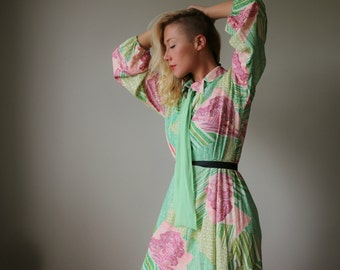 1960s Lurex Chevron Forest Dress~Size Medium to Large