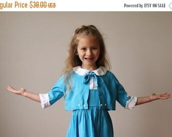 ON SALE 1950s Teal Bolero & Dress Set~Size 4t/5t