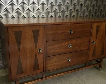 Mid-Century Modern Walnut and Rosewood Inlay Credenza by Stanley