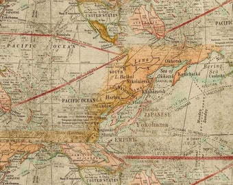 Old World Map HaNdMaDe Cotton Fabric Window Curtain Valance