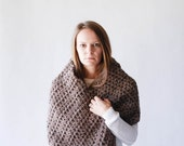 WINTER SALE Outlander Chunky Poncho Cowl Wrap Shawl / THE Arapaho / Barley