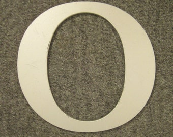 ACRYLIC  NUMBER Cutout Roman letters O Light grey silver and clear app 8 tall x 7  wide 1/4 in thick