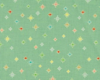 FABRIC FAT QUARTER Stars on Green from the Cozy Christmas line by Riley Blake