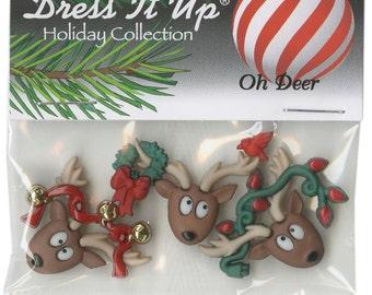 BUTTONS OH DEER Christmas crazy Reindeer buttons set of 3