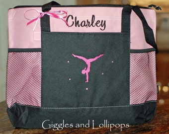 Girls personalized Gymnastic dance bag tote zippered ballet jazz