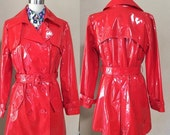 SALE Ruby Red Patton Leather Raincoat, woman's sexy Red Winter Coat, 80's