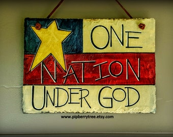 Americana/Patriotic/One Nation Under God Hand Painted Decorative Slate Sign One Star/One Nation Under God Decorative Sign