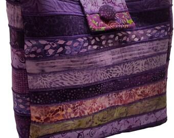 Large Batik Purse in Purple Fabrics