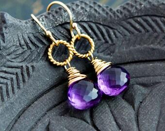 Drop Earrings, Amethyst Earrings, Gold Earrings, February Birthstone, Gold Jewelry, Amethyst Jewelry, Birthstone Jewelry, Birthstone Earring