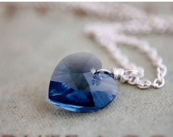 ON SALE Crystal Necklace, Crystal Heart, Heart Pendant, Blue Crystal, Denim, Cornflower, Sterling Silver, Swarovski Crystal, Swarovski Heart