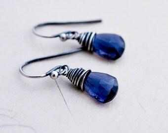 Iolite Earrings, Drop Earrings, Drop Earrings, Sterling Silver, Blue Gemstone, Silver Earrings, PoleStar, Indigo, Crystal Earrings