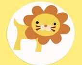 Lion Stickers - Round 1 1/2 Inch Handmade Stickers, Set of 12