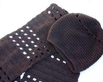 Brown Winter Hat Scarf Set, Womens Crochet Slouchy Beanie, Long Scarf, Vegan Crochet Hat, Ready to Ship