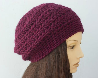 Winter Hat, Crochet Beret, Custom Choose Color,  Wool Slouchy Hat, Woman's Hat