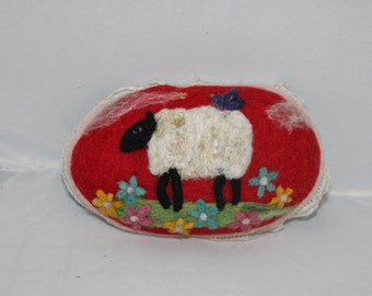Sheep, Needle Felted Sheep Pin Cushion, Sheep Pin Keep # 1439