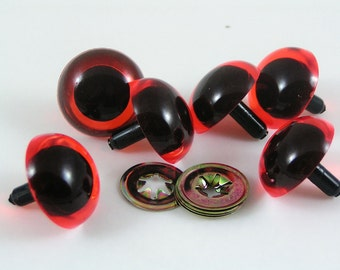 18mm Toy Safety eyes, Amber animal eyes with washers available in packs of 6 eyes and 6 washers