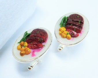 Steak in Red Wine Sauce Dinner Cufflinks - Miniature Food Art Jewelry Collectable - Schickie Mickie Original 100% Handmade
