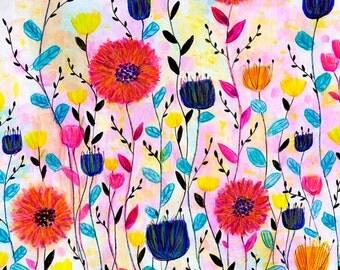 Flower Painting, Modern Wall Art Print, Wooden Art Block Print