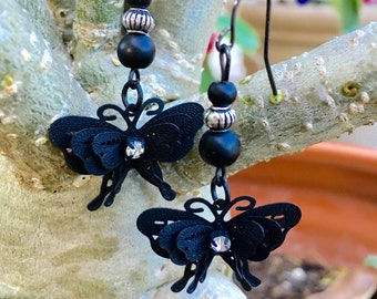 Small Black Butterfly Dangle Earrings
