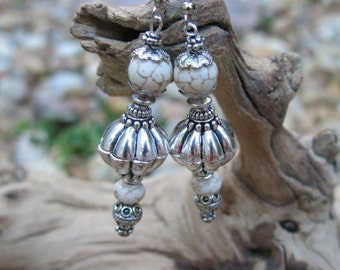 White Turquoise & Silver Earrings