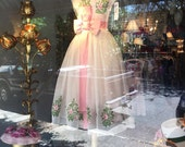 Reserved Listing 1950's Rose Embroidered Party Dress For Tammy