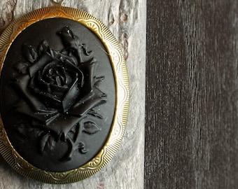 Mourning cameo locket, black rose cameo necklace, gothic locket, black locket, large locket, long necklace, holiday gift ideas