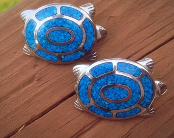 Signed Trifari Turquoise Turtle Clipon Earrings.