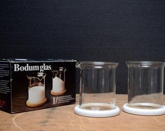 Bodum Glas Sugar Basin Cream Jug Set, Bodum Denmark Glass Sugar Bowl and Creamer with Cork Coasters, Original Box