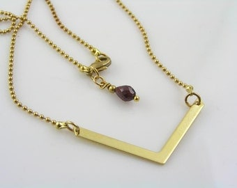 Bar Necklace Personalized, Gold Bar Necklace, Personalized Bar Necklace, Chevron Necklace, V Necklace,
