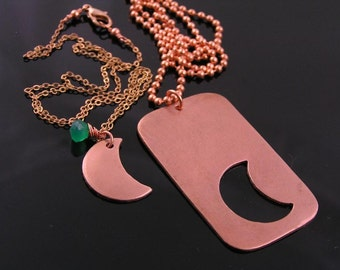 Matching Couple Necklace, Copper Dog Tag and Crescent Moon Couple Necklace, Partner Necklaces, Relationship Necklaces, Couple Jewelry, N1123