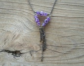 amethyst triangle and chain tassel necklace // nickel free jewelry // amethyst jewelry // amethyst necklace // HEY02A