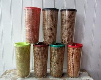 7 vintage Raffia ware plastic burlap insulated tumblers cups glasses Tiki bar barware drinkware Mid Century