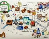 Paris  MAP : 6 month Map subscription. A different illustrated Paris map each month + Macaron watercolor bonus