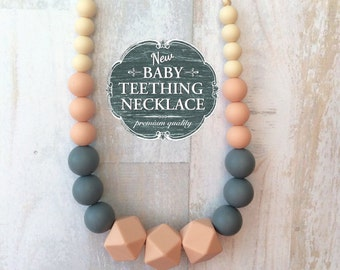 Free Shipping in Canada - Baby Teething Necklace - Silicone Teething Nursing Necklace - Blush and Grey