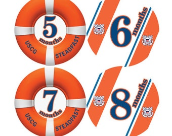 Coast Guard Monthly Baby Shirt Stickers for Shirts