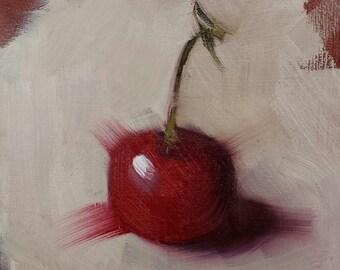 """Small Original Oil Painting, Cherry, 4 x 4"""", Unframed, Wall Art, Kitchen Art"""