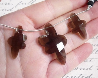 Out Of Town SALE Rose Cut Sable Smokey Quartz  Briolette Beads, Fancy Fantasy Shape Matched Pair trio,