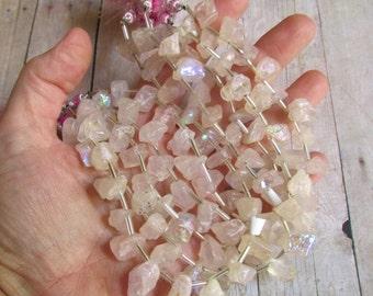 OUT Of Town SALE Rainbow Mystic Rose Quartz Raw Nugget Briolette  Beads Rough Druzy Aqua Aura