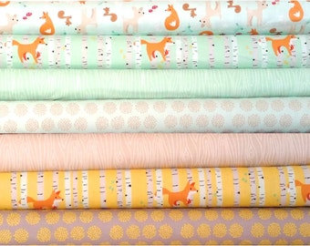 Good Natured Foxes by Marin Sutton for Riley Blake cotton quilting apparel fabric, half yard bundle of 7 in mint orange gray