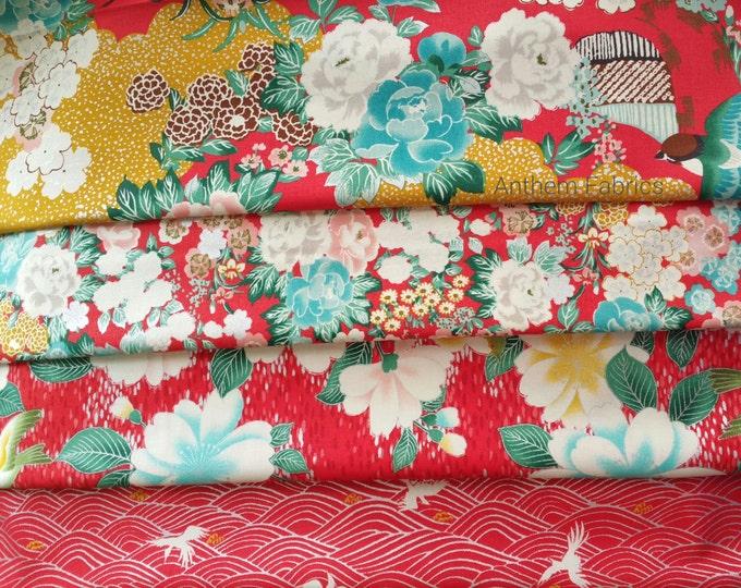 Quilt Gate Floral and Bird quilting kimono cotton, Hyakka Ryoran - Tori  silver metallic fabric bundle, half yard set of 4 in red